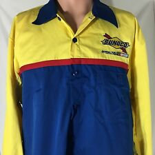 Cintas Sunoco Nascar Racing Employee Work Shirt L Blue Yellow Pit Crew Sewn