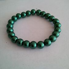 Glass Pearl Jewel Green Beaded Stretch Bracelet