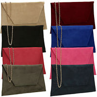 Womens Faux Suede Velvet Ladies Evening Party Prom Smart Envelope Clutch Bag