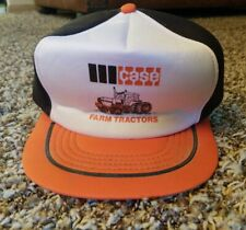 Vtg CASE Snapback Trucker Hat Cap USA Farm Tractor Three Tone USA Orange Black
