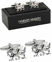 NEW Mens Welsh Dragon Wales Cufflinks in Gift Box Nice Quality Silver Colour Set