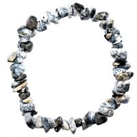 Premium Natural Dendritic Opal Crystal Chip Stretchy Bracelet - Selenite Charged