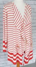 *BNWT* M&S Longline Cardigan Sz L 16 - 18 Open Front Orange Striped Breton / b41