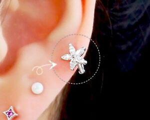 Flower hoop cartilage earring delicate flower for helix dainty CZ earlobe hoop