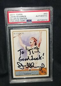 John McEnroe 2011 Ginter #40 signed PSA/DNA auto slabbed baseball card tennis