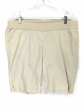 Motherhood L Maternity Shorts Beige Cotton Stretch Womens Large Actual 36 x 20.5