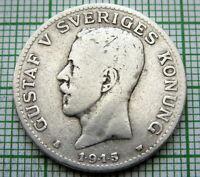SWEDEN GUSTAF V 1915 W 1 KRONA, SILVER