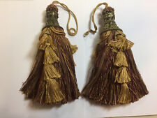 Pair (2) Large Ornate Tassels - Red and a Shade of gold