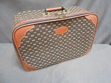 Vtg Retro Modern Lark Tapestry Carryon Suitcase Luggage With Combination Lock