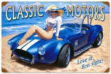 Classic Motors Pin Up Girl Vintage Distress Metal Sign Home Wall Decor HB043