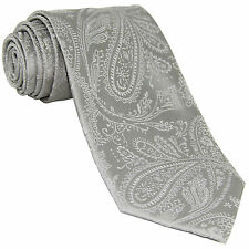 New Men's Polyester Woven Neck Tie necktie only silver paisley prom wedding