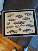 Marble Etching Corvette By Carol Blaess World Art Metal Frame 1988 , 150/900