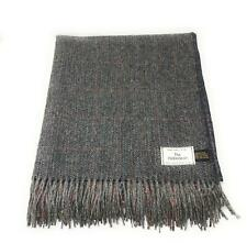 100% Wool Blanket/Throw/Rug - Dark Grey Herringbone Design