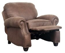 New Barcalounger Longhorn II Dark Sanded Bomber Leather Manual Recliner Chair