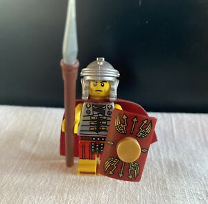 LEGO Minifig ROMAN SOLDIER-RARE; Gold 1x1 Added To Shield! Used Only For Display