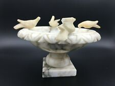"""Vintage Carved Marble Footed Bird Feeder, 5"""" High, 7"""" Widest, Weight 2 Lbs 9 Oz"""