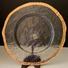 "13"" Round Platter Hand Decorated IVV Glacier Italy 10K Gold Trim Art Glass"