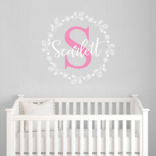CUSTOMISE Initial Nursery Room Flowers Baby Girl Mural Sticker Vinyl Decal Decor