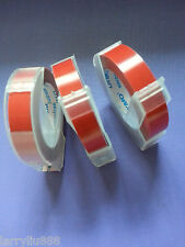 3 rolls x Dymo 3D Embossing Label 9mm x 3m in RED **CAZY SALES