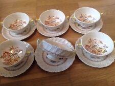 Royal Doulton Grantham Pattern D5477 ( 6 Soup Coupes & Saucers ) 1st Quality