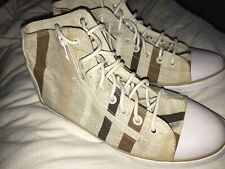 Nine West  Tan Color Canvas Lace Up Zipper High Top fashion Sneakers 8 (Women)