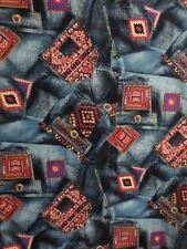 """Southwestern Jean Pockets Fabric By Shamash And Sons Blue Multicolor 1 Yard 23"""""""