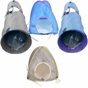Small Animal Rabbit Guinea Pig Grey Activity Pop Up Tent/ Tunnel -2 Colour/Sizes