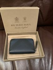 100% Authentic New With Box Burberry Small Navy Check Pattern Purse Wallet Pouch