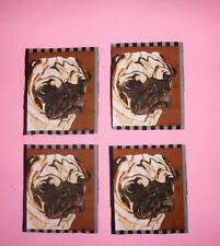 PUG,hard to get,SET 4 PATCHES DOG PUPPY FACE PORTRAIT,QUILT FABRIC PANEL BLOCKS