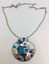 Navajo Native American Sterling Silver Turquoise Inlay Shell Shaped Necklace
