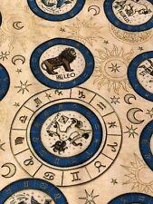 Intergalactic Zodiac Medallions 100% cotton fabric by the yard Cream