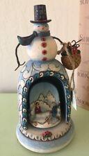 "Jim Shore Heartwood Creek Snowman Winter Memories Revolving Musical Figurine 10"""