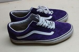 Vans Purple Unisex Leather Athletic Sneaker Lace Up Skate Shoe Men 9 Womens 10.5