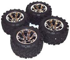 4 Traxxas Brushless E-maxx Tires 17mm Black Chrome Wheels 4983A revo Revo 3.3 97