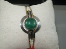 Sterling Silver Gold Filled Modernist Malachite Cuff Bracelet