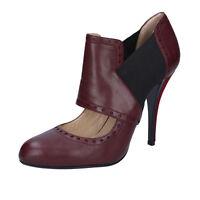 scarpe donna GIANNI MARRA 40 EU tronchetti bordeaux pelle tessuto BY795-40