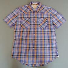 Men's LEVI STRAUSS Vintage Orange Checked Western Shirt Snap Button Medium #F726