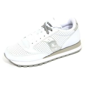 G2820 sneaker donna SAUCONY JAZZ ORIGINAL white/silver leather/fabric shoe woman