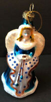 "Vintage Angel Christmas Ornament Pressed Glass 4"" Glitter Gold Topper"