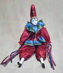 """Vintage 19"""" Harlequin Clown in Red Outfit Handmade Porcelain Figurine"""
