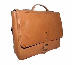 New Tan Men's Handmade Genuine Leather Messenger Laptop Bag Best Briefcase