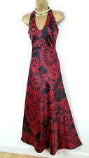 JANE NORMAN satin maxi halterneck beaded sequin party dress UK 12 10