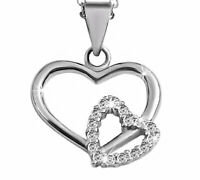 Akzent Damen Halskette 925er Silber Halskette, 43+5cm rhodiniert 2 Herzen Strass