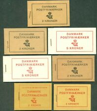 DENMARK BOOKLET LOT OF 7 WITH DIFFERENT ADVERTISING, VF FACIT CAT $265.00