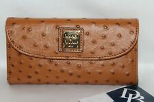 NEW! NWT! DOONEY & BOURKE Cognac Brown Ostrich Leather Flap Clutch Wallet $138
