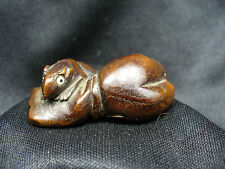 Antique Japanese Boxwood Netsuke Mice in a Rice Bag