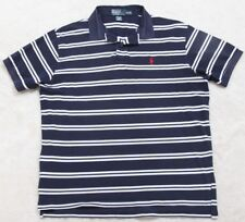 Ralph Lauren Polo Shirt Mens Short Sleeve XL Top Striped Navy Blue White Red Man