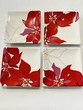 "Department 56 Poinsetta Red Floral Dessert Plates 6"" Adorable Christmas"