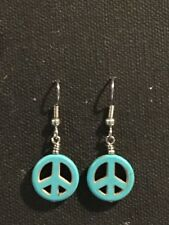 PEACE Earrings Surgical Hook New Turquoise Color Howlite Dyed (small) B