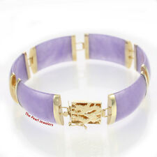 "6 Segments Lavender Jade Bracelet 14k Yellow Gold ""Dragon"" Clasp 24.9 Gm TPJ"